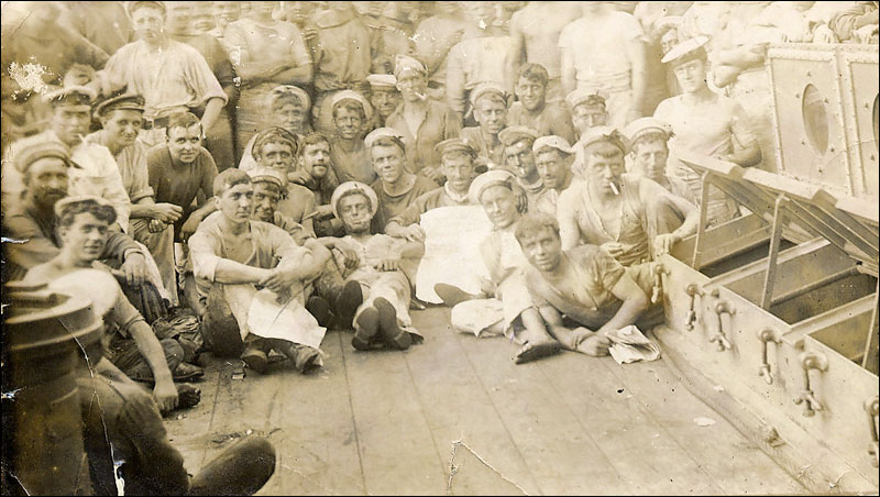 The photograph above of sailors aboard ship at the dardanelles was